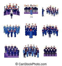 Choir Singing Ensemble Flat Icons Collection - Choir flat...
