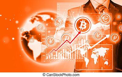 choisir, bitcoins, homme affaires, urgent, écran tactile,...