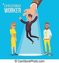 choisir, bureau, humain, position souriante, hiring., choisir, vector., employee., entrevue, heureux, plat, business, ouvrier, main, métier, homme, workers., personnel, recruitment., personne, suit., hr., avoir