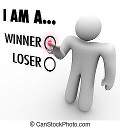choisir, volonté, réussir, vous, mur, sien, il, mot, loser?, toucher, homme, chooses, soi, croyance, symboliser, écran, gagnant, ou, boîte, confiance