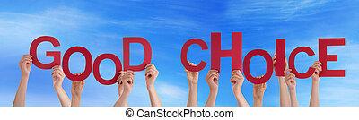 choix, bon, ciel, tenant mains