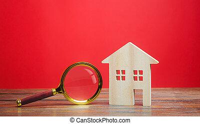 choix, maison, bois, propriété, maison, valuation., recherche, concept., logement, vrai, emplacement, magnifier, fond, verre., construction., appraisal., rouges, apartments., estate., recherche