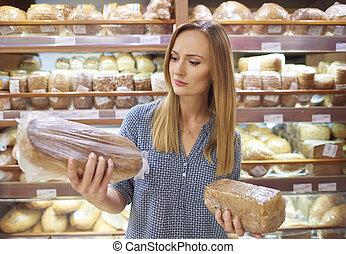 choix, pain, femme, supermarché, pain
