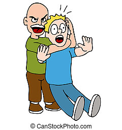 Choke Hold - An image of a two men fighting with on in a ...