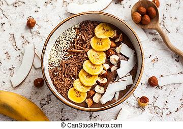 choklad, hasselnöt, smoothie, bunke