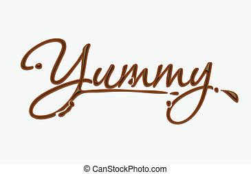 choklad, smaskig, text