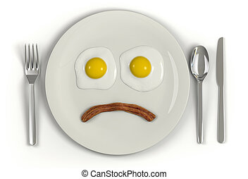 A plate with a frowning face made from two sunny side up eggs and a strip of bacon on a white background