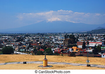 cholula, piramida, w, puebla, meksyk, i, popocatepetl wulkan
