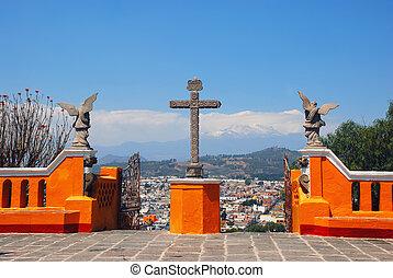 cholula, piramida, w, puebla, meksyk