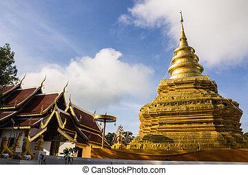 chomthong, vihan, chiangmai, chedi, tailandia, pra, wat, vora