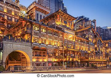 chongqing, 瓷器, 在, hongyadong, 山坡, 建筑物。