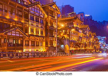 chongqing, district., hegyoldal, cityscape, kína, hongyadong