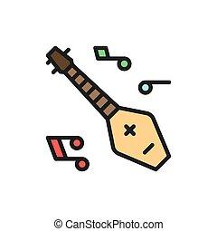 chonguri, panduri, 線, 楽器, icon., 色, 平ら, georgian