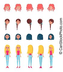 Choose Appearance for Animated Girl Character Set - Choose...