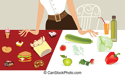 Choose Diet - Vector illustration of a lady choosing...
