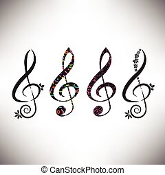 Choose from four assorted decorative G clefs in this music ...