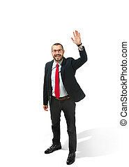 Choose me. Full body view of businessman on white studio...
