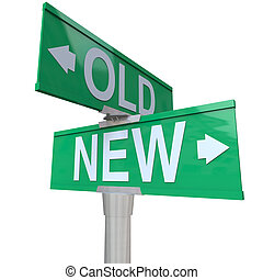 Choose Old or New 2-Way Street Sign Pointing Arrows - A...
