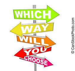 choose?, spørgsmål, -, pil, vilje, vej, tegn, du
