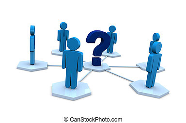 choose the leader - several businessmen with a question mark...
