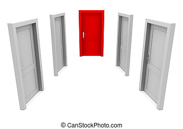 Choose the Red Door - abstract hallway with four gray doors...