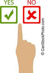 Choose yes or no, vector clip art
