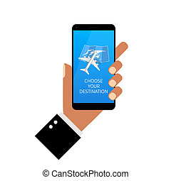choose your destination on smartphone in hands illustration
