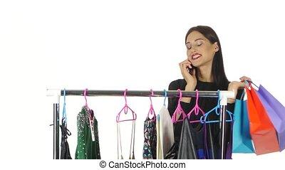 chooses, 말하는 것, 전화., 백색 복장, 소녀, 상점