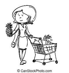 chooses, mulher, fruta, loja