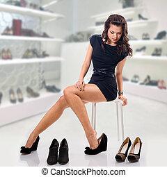 chooses, mulher, sapatos, jovem