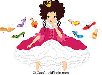 chooses, sorrindo, sapatos, bonito, princesa