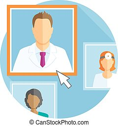 Flat design illustration with different avatars of doctors