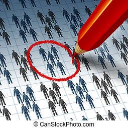 Choosing A Team - Choosing a team concept with a red pencil ...
