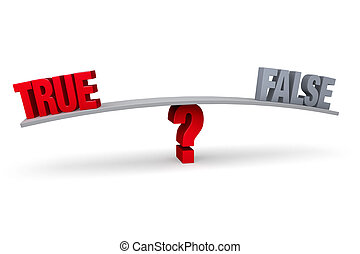 "Choosing Between True and False - A red ""TRUE"" and a gray..."