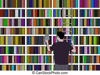 Illustrated man choosing a book from many other books