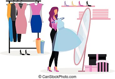 Choosing clothes in wardrobe flat illustration. Shopper buying new outfit in clothing store. Elegant lady purchasing evening gown for festive event. Fashionista, shopaholic in boutique fitting room