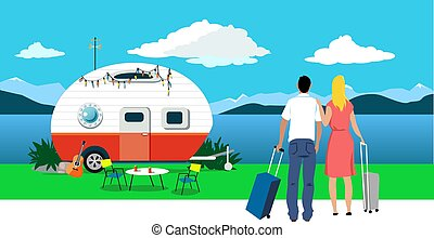 Choosing local vacation destination - Couple with suitcases ...