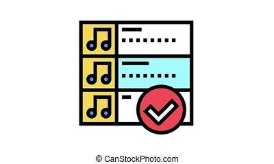choosing radio music animated color icon. choosing radio music sign. isolated on white background