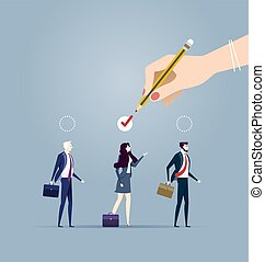 Choosing the best candidate for the job concept. Business concept vector illustration