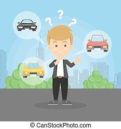 Choosing the car.