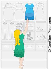 choosing the dress vector