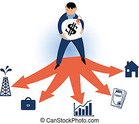 Choosing typles of investments - Man standing on the fork in...