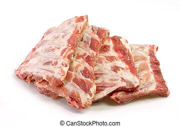 Chop Ribs - Pork ribs isolated against white.