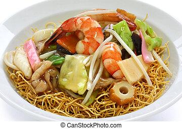 chop suey on deep-fried noodles - sara udon, japanese ...