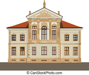 Baroque front facade of Chopin Museum in Ostrogskich Palace in Warsaw. Color vector illustration.