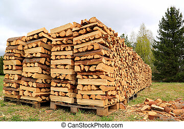 Chopped and Stacked Firewood on a Field