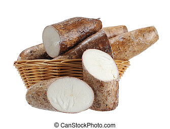 chopped and whole cassava in bamboo basket isolate on white