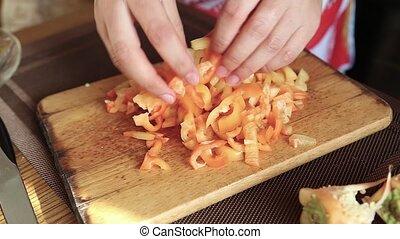 Chopped bell pepper - Chopped Bulgarian pepper on the dowel,...