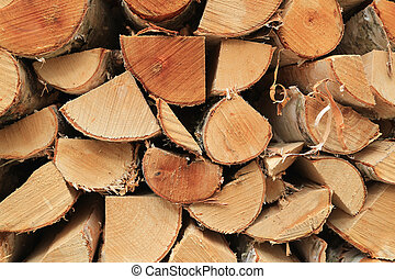 Chopped Birch Logs for Firewood