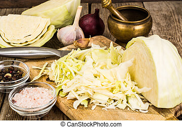 Chopped cabbage for pickling or salad. Studio Photo